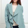 Жакет средней длины серо-голубой с карманами
