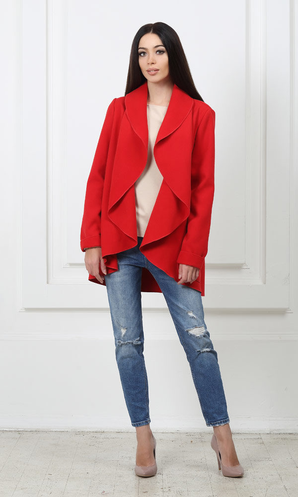 Жакет средней длины красный с карманами