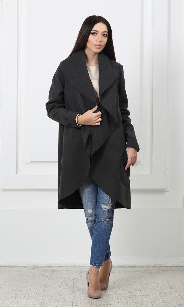 Кашемировое пальто с карманами темно-серое