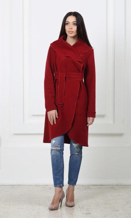 Кашемировое пальто с карманами марсала