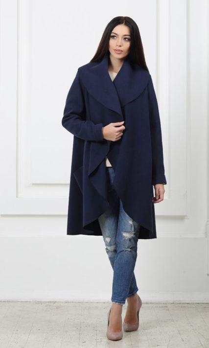 Кашемировое пальто с карманами темно-синее