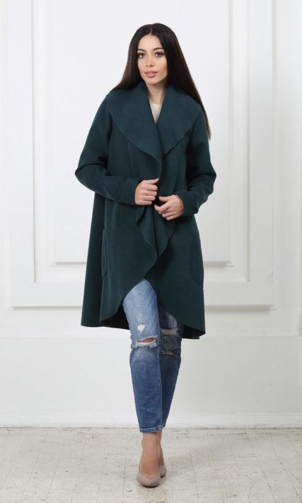 Кашемировое пальто с карманами бутылочного цвета