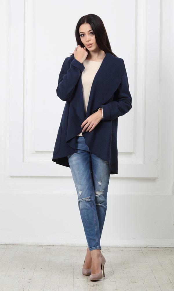 Жакет средней длины синий с карманами