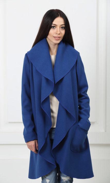 Кашемировое пальто с карманами ультрамарин