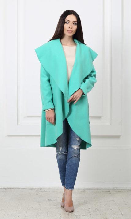 Кашемировое пальто с карманами мятного цвета