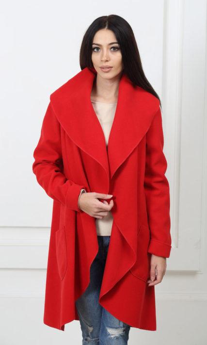 Кашемировое пальто с карманами красное