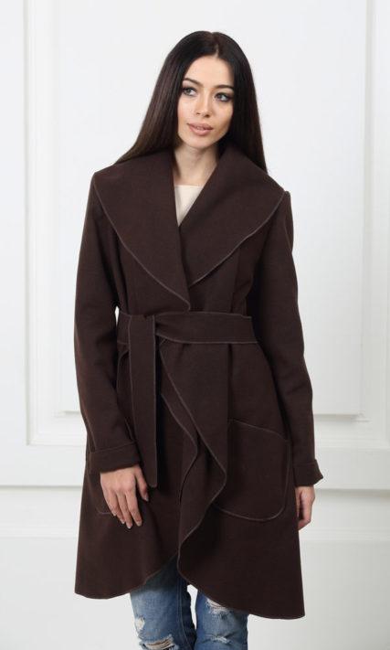 Кашемировое пальто с карманами шоколадного цвета