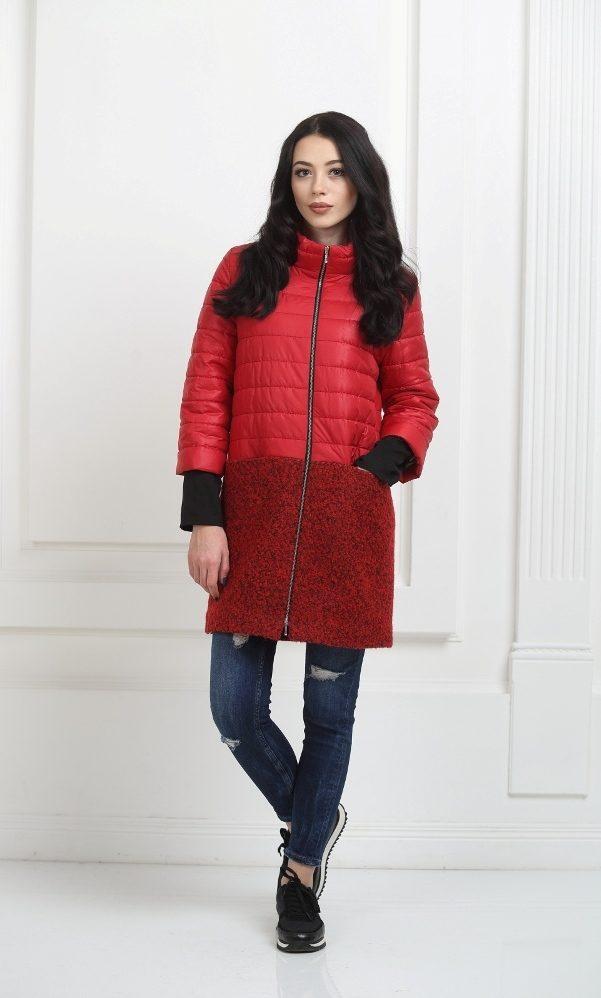 Пальто комбинированное красное