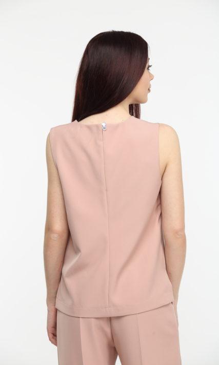 Блуза бежевая без рукавов