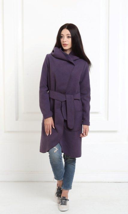 Кашемировое пальто с капюшоном цвета индиго