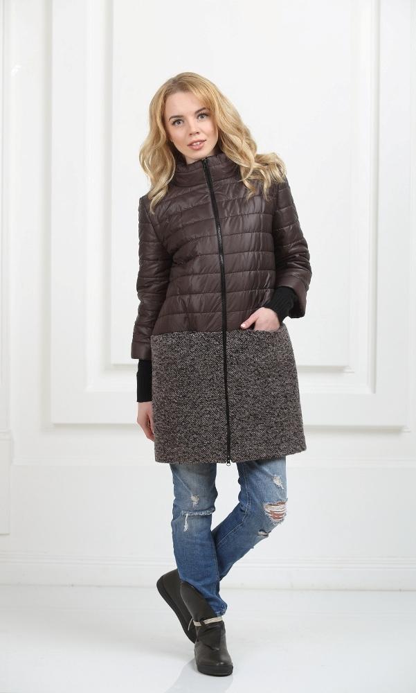 Пальто комбинированное коричневое