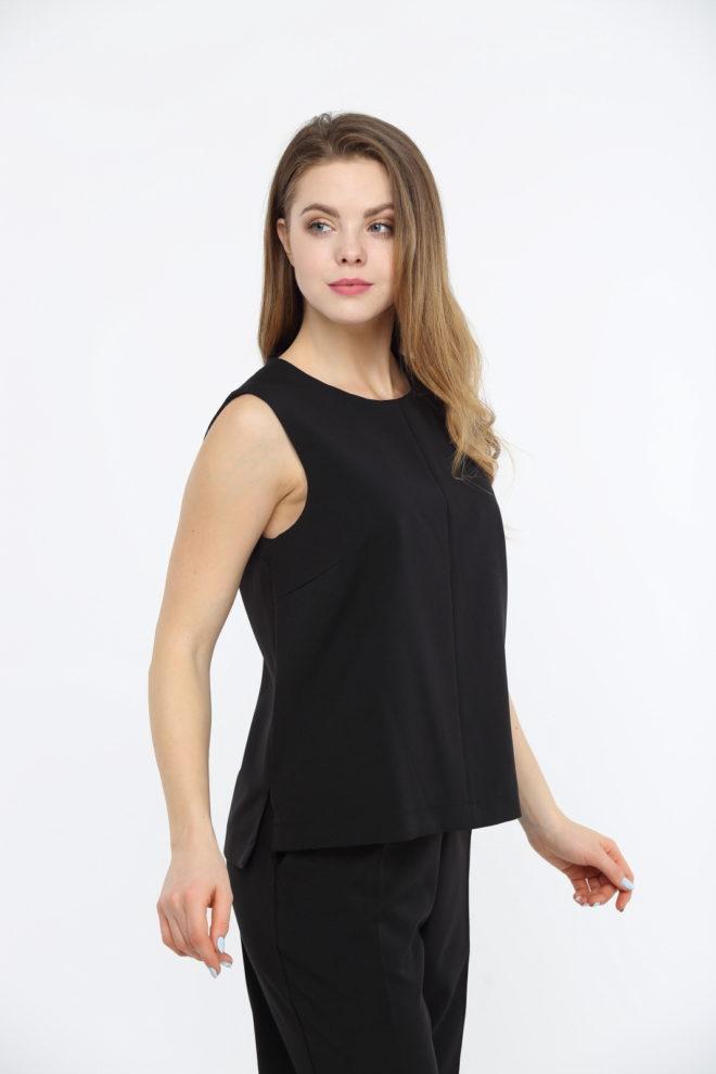Блуза черная без рукавов