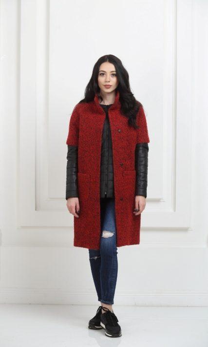 Пальто трансформер красное