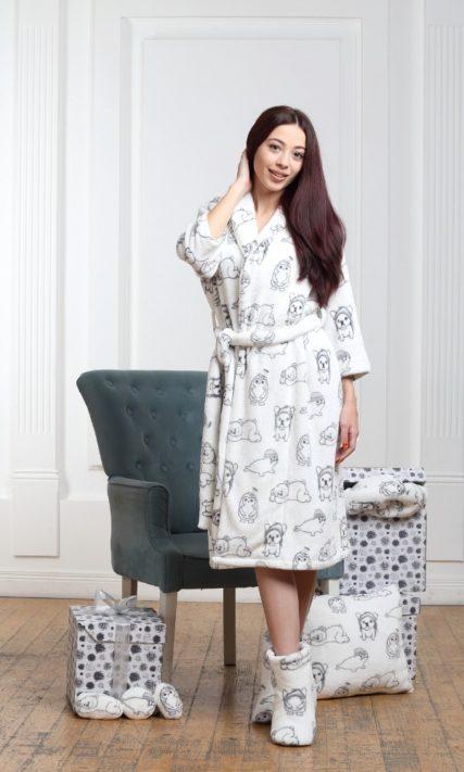 Женский флисовый халат с поясом