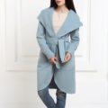 Кашемировое пальто с капюшоном серо-голубого цвета
