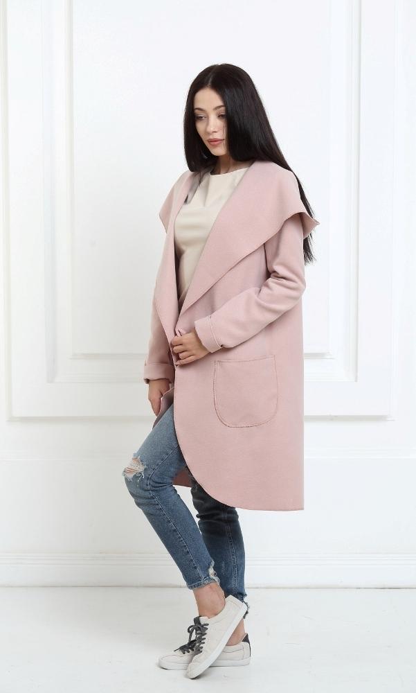 Кашемировое пальто с капюшоном цвета пудры