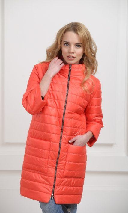 Пальто дутое оранжевое