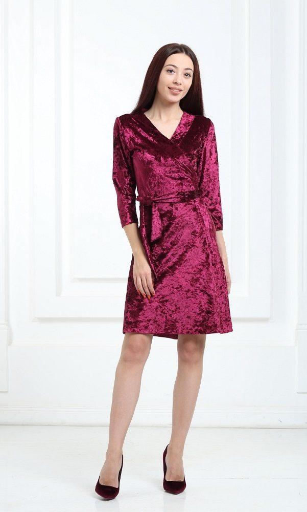 Платье велюровое короткое бордовое