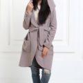 Кашемировое пальто с капюшоном цвета капучино