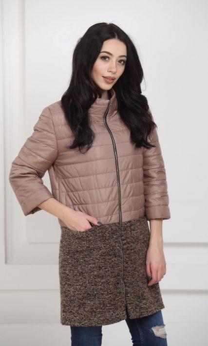 Пальто комбинированное темно-бежевое