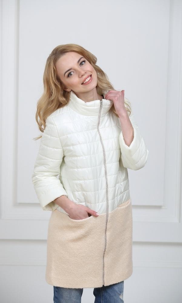 Пальто комбинированное молочное