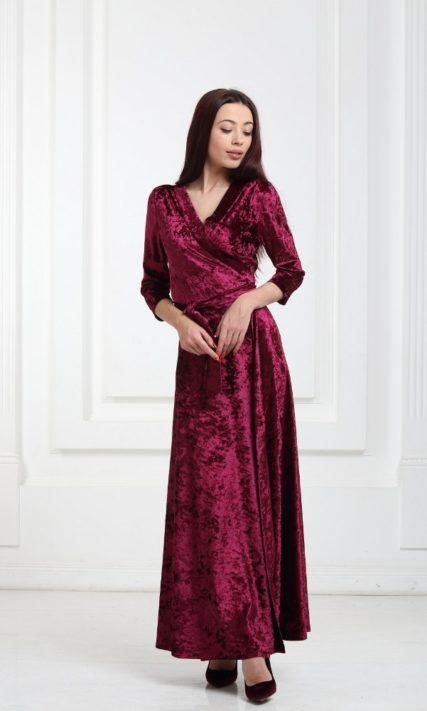 Платье велюровое длинное бордовое