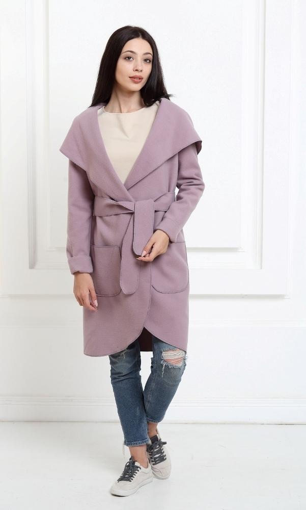 Кашемировое пальто с капюшоном сиреневого цвета