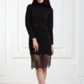Платье черное с люрексом и кружевом