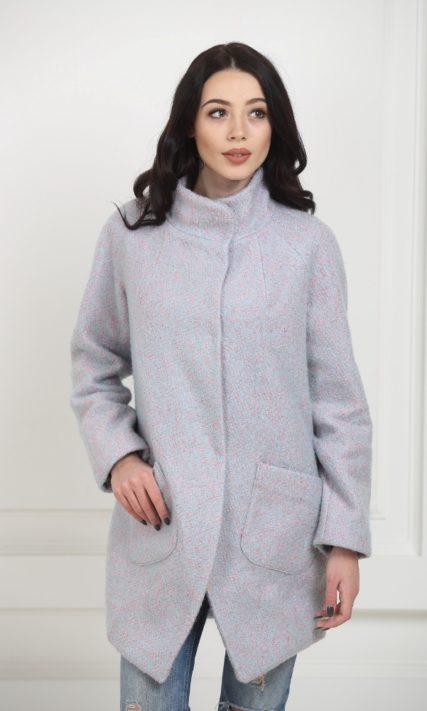 Пальто-бочонок сиреневого цвета
