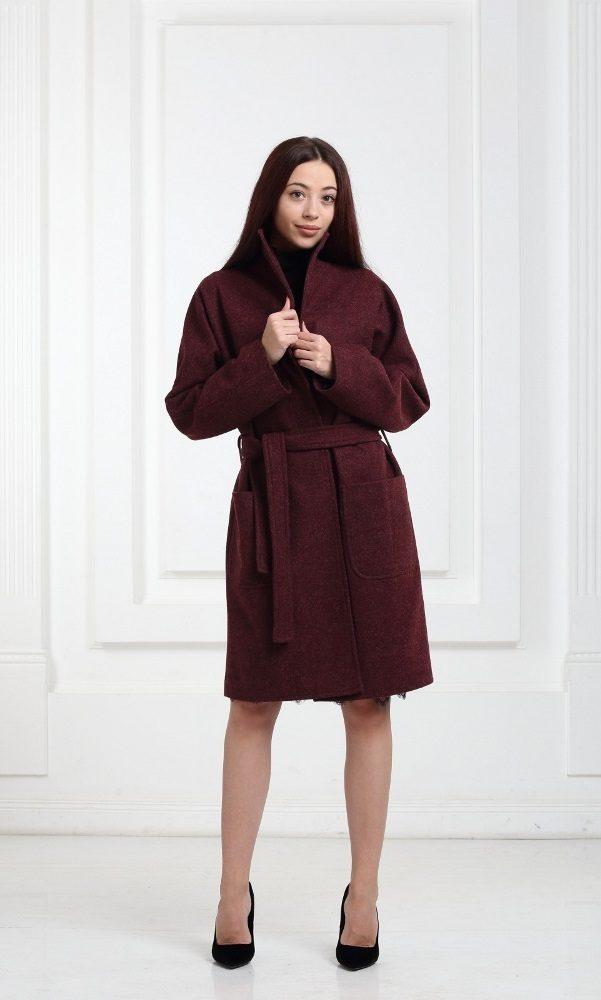 Полушерстяное пальто бордовое