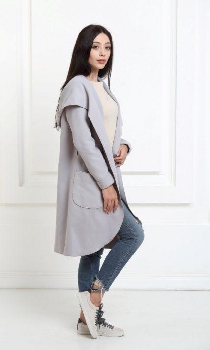 Кашемировое пальто с капюшоном серебристо-серое