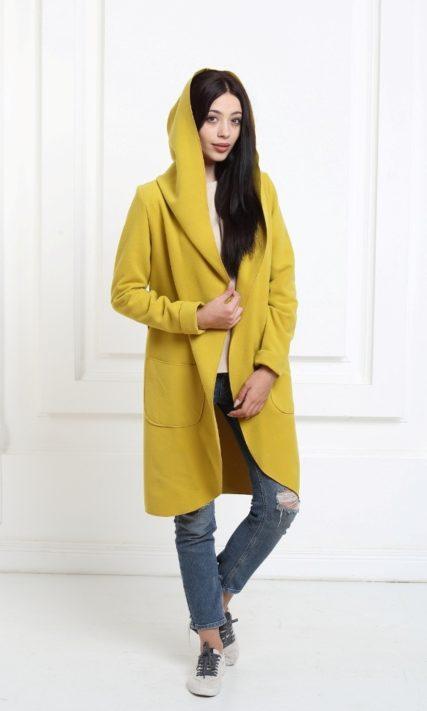 Кашемировое пальто с капюшоном горчичное (Spicy mustard)