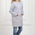 Пальто без воротника сиреневое