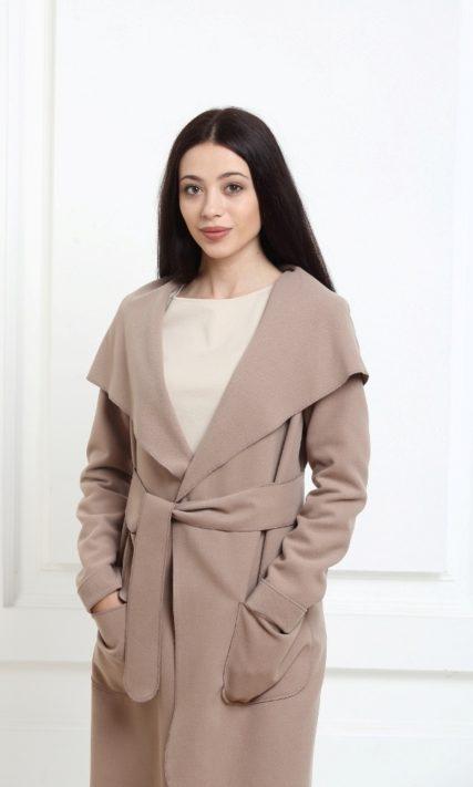 Кашемировое пальто с капюшоном темно-бежевое (warm taupe)