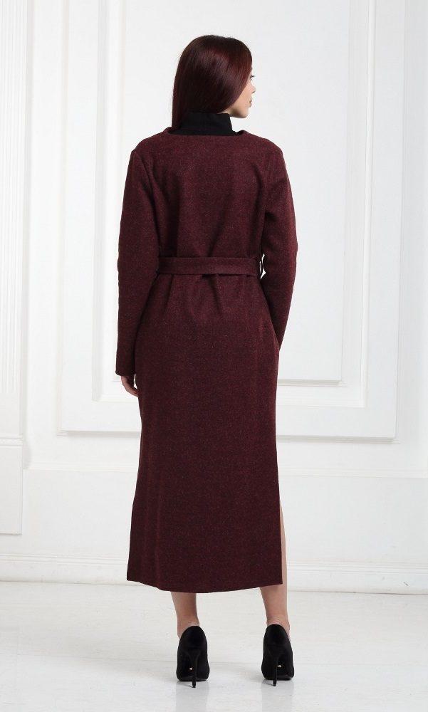Длинный шерстяной кардиган цвета марсала