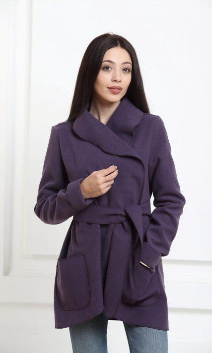 Жакет средней длины цвета индиго с карманами