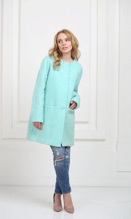 Пальто без воротника мятное
