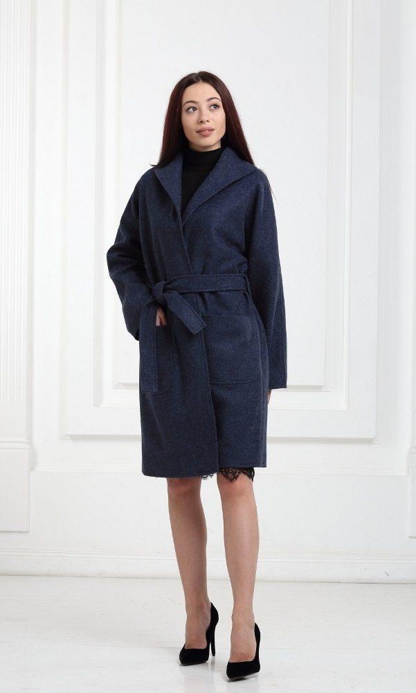 Полушерстяное пальто синее