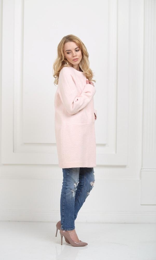 Пальто без воротника нежно-розового цвета