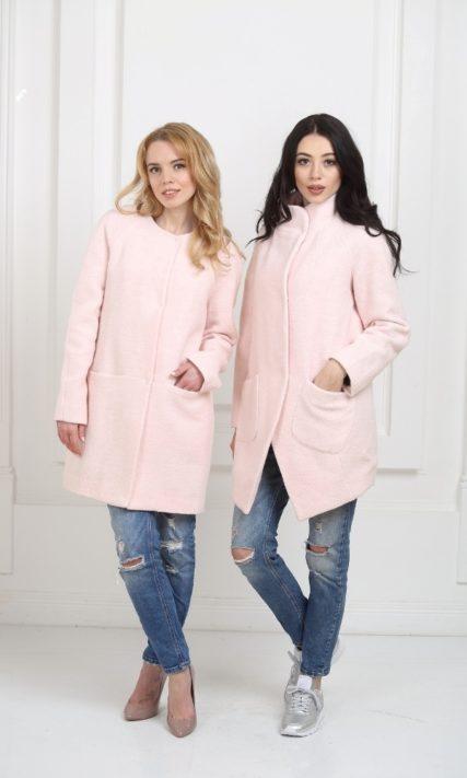Пальто-бочонок нежно-розового цвета