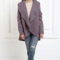 Жакет средней длины лавандового цвета с карманами