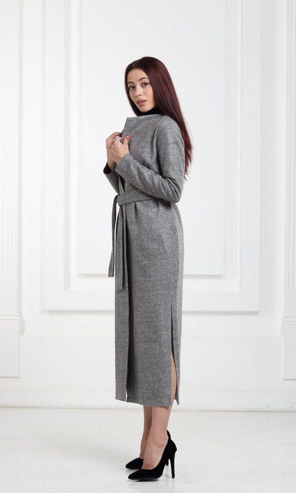 Длинный шерстяной кардиган серого цвета