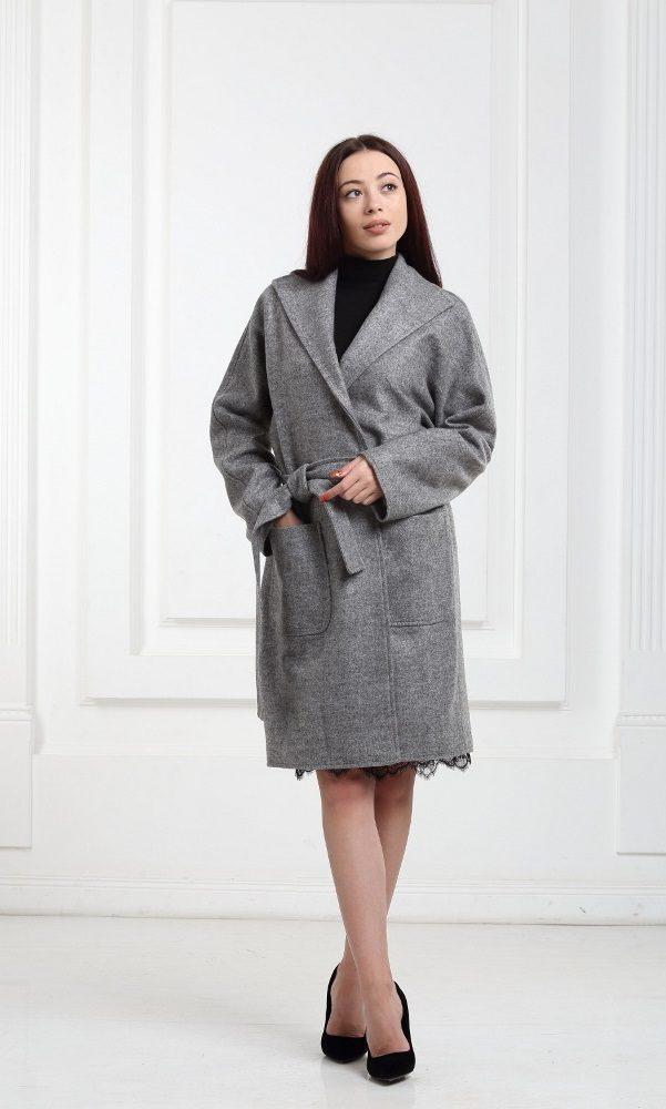 Полушерстяное пальто серое