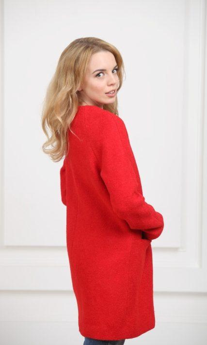 Пальто без воротника красное