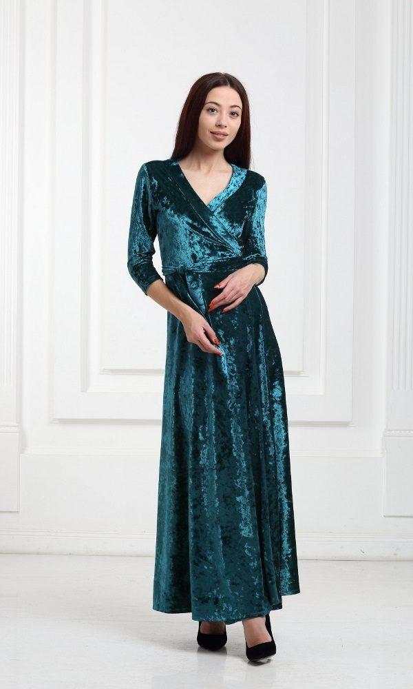 Платье велюровое длинное зеленое