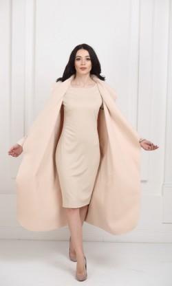 Кашемировое пальто макси кремовое