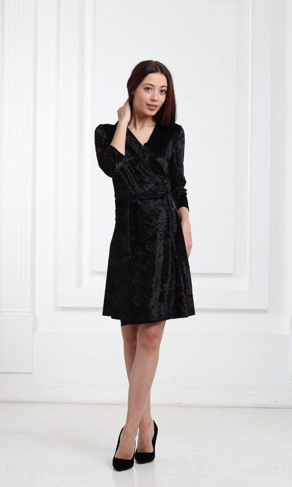 Платье велюровое короткое черное