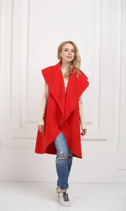 Кейп длинный красный с карманами