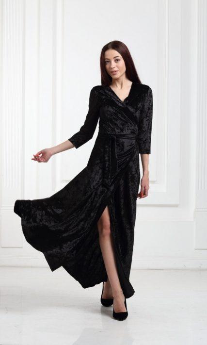 Платье велюровое длинное черное