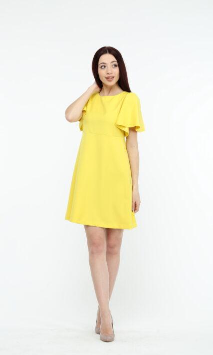 Жёлтое платье с коротким рукавом